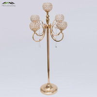 6pcs/lot 130CM/52'' Metal Golden/Silver Candle Holders 5 Arms With Crystals Stand Pillar Candlestick For Wedding Candelabra