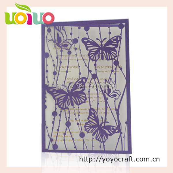 lovely purple pearl paper butterfly invitation card