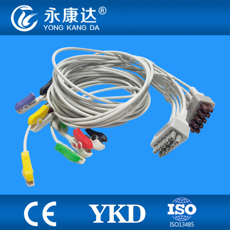 ФОТО 5PCS/ Lot Free Shipping for GE 10-leads ECG EKG Patient Monitor Cable with IEC Clip leadwires