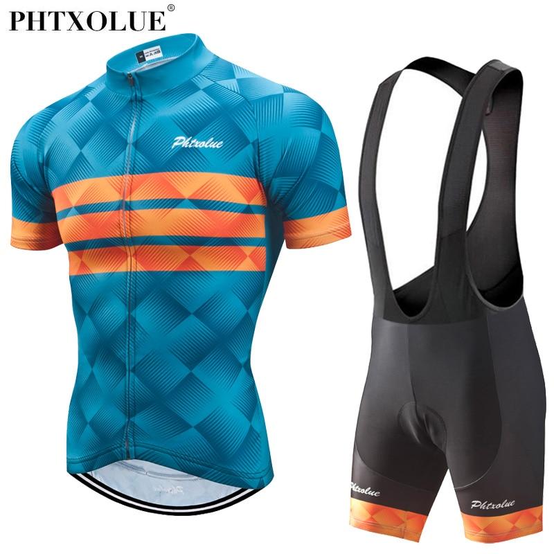 Phtxolue 2018 Homens Roupas de Ciclismo Definir Bicicleta Roupas Respirável Anti-UV Bicicleta Desgaste/Manga Curta Conjuntos Ciclismo Jersey