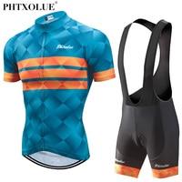 Phtxolue 2018 Cycling Clothing Men Set Bike Clothing Breathable Anti UV Bicycle Wear Short Sleeve Cycling