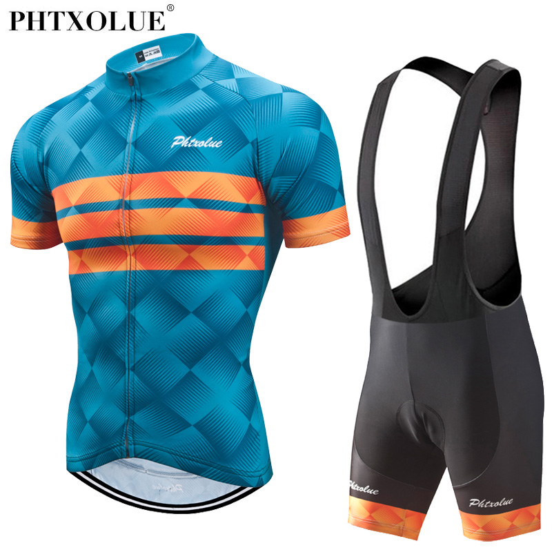 Phtxolue Cycling Clothing Men Cycling Set Bike Clothing Breathable Anti-UV Bicycle Wear/Short Sleeve Cycling Jersey Sets