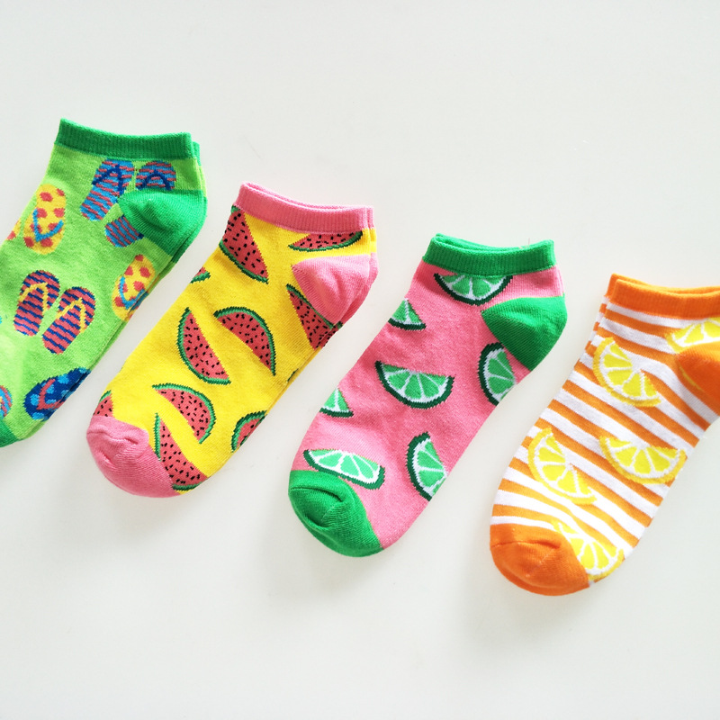 Cartoon pattern watermelon lemon art   socks   fruit kawaii ankle happy short casual Spring summer color stopki skarpetki damskie