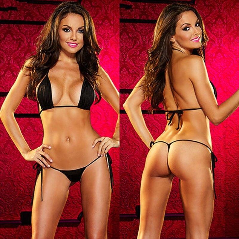 Sexy Womens Micro Thong G String Brazilian Mini Top Bra Bikini Swimsuit Swimwear W15