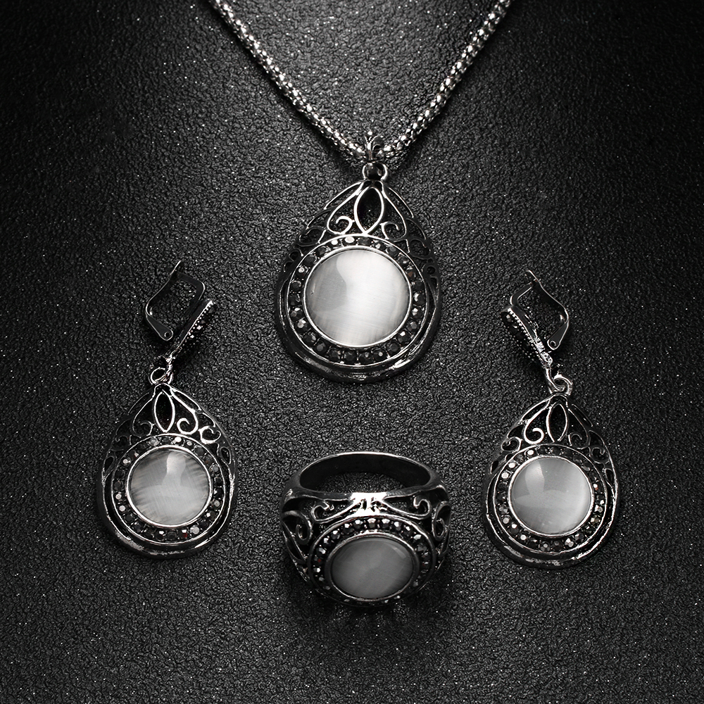 3PCs/Set Vintage Silver Plated White Opal Pendants Necklace Retro Hollow Out Water Drop&Round Natural Stone Jewelry Sets