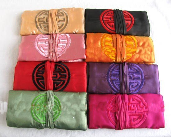FREE SHIPPING! Lot 50pc EMBROIDERED BROCADE NEW SILK TRAVEL SILK JEWELRY ROLLS/bags & boxes