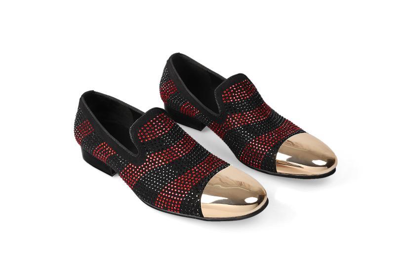 Linhas Cor De Artesanal Casuais Beertola Mixd Lazer Sapatos Vermelho Dourado Cristal Do Sapatas Preto Hombre Homens Itália Zapatos Cabeça Dos Metal OXXxqw08