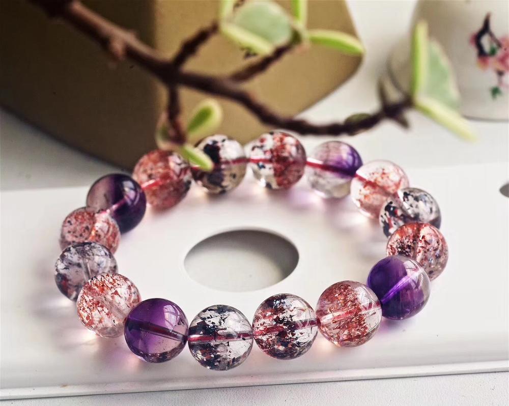 Certificate Natural Super Seven 7 Crystal Lepidocrocite Quartz Rutilated Women Men Bracelet 13 2mm Round Bead Jewelry AAAAAA in Bracelets Bangles from Jewelry Accessories