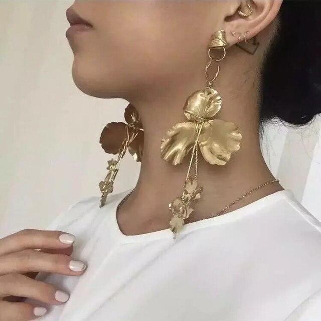 Best lady New Design Fashion Dangle Earrings Leaves Shaped Drop Long Earrings Wo
