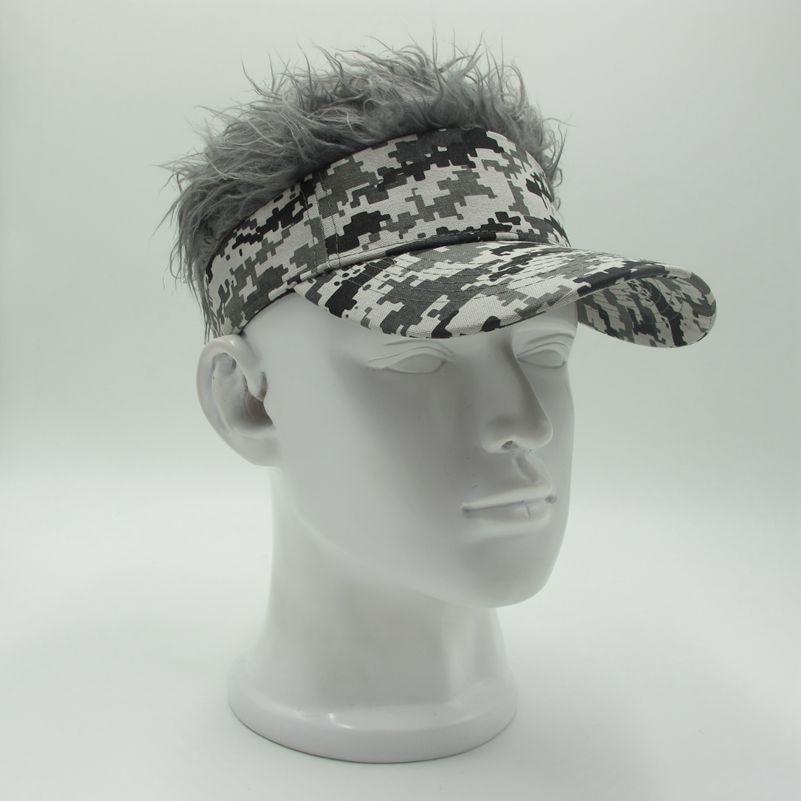 5acb4e68159 Hot New Fashion Novelty Baseball Cap Fake Flair Hair Sun Visor Hats Men s  Women s Toupee Wig
