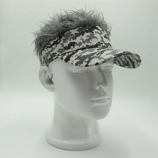 143ce6e5365 Hot New Fashion Novelty Baseball Cap Fake Flair Hair Sun Visor Hats Men s  Women s Toupee Wig