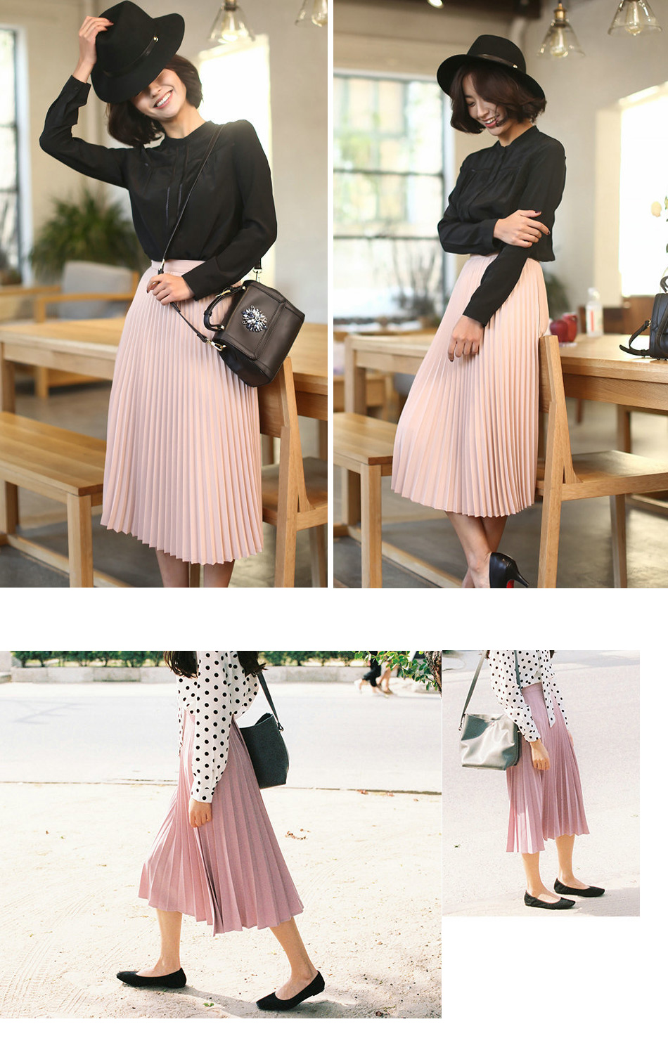 Aonibeier Fashion Women's High Waist Pleated Solid Color Length Elastic Skirt Promotions Lady Black Pink Party Casual Skirts 39