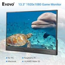 Eyoyo EM13N 13.3 IPS Portable HDMI Gaming Monitor 1920x1080 High Resolution for PC Desktop Compatible with PS4 Raspberry Pi eyoyo em13n 13 3 monitor full hd 1920 1080 hdmi lcd monitors with hdmi vga video audio cctv pc gaming monitor raspberry pi