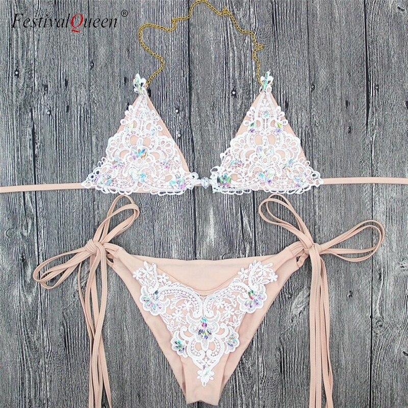 Image 5 - Festival Queen women 2018 lace diamond bra set brazilian rhinestone beachwear push up bandage women's bras-in Bra & Brief Sets from Underwear & Sleepwears