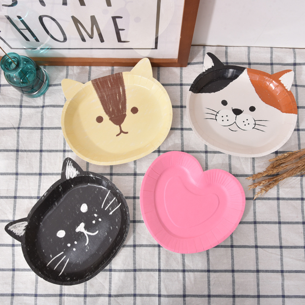 LIRUIKA 8pcs Cute Animal Thick Paper Disposable Plates Cake Tray Snack Plate Barbecue Plate Dish Party Dedicated