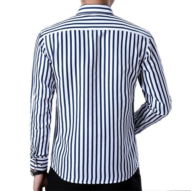 6c172d949be R.N.J. Brand Classic Bi-color Striped Shirts Mens Clothes 2018 Long Sleeve  Mens Dress Shirts Casual Slim fit Men Social Shirt