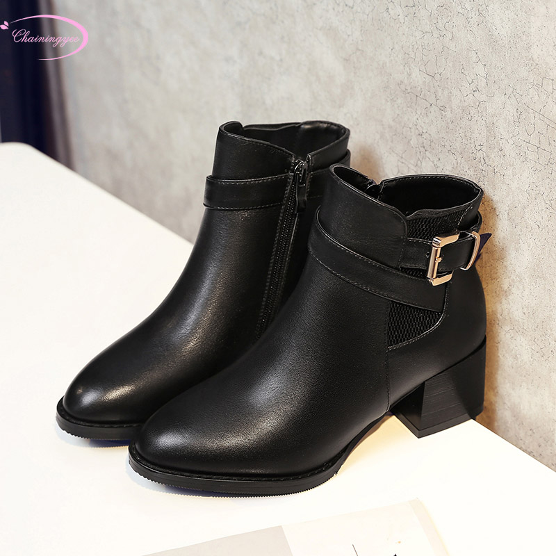 European style genuine leather autumn ankle boots fashion belt buckle zipper black thick heel motorcycle boots women's shoes