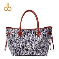 DOMIL Zebra Printing Women Handbag PU Faux Leather Handle Tote Bag DOM731