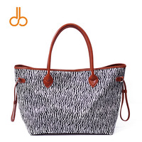 DOMIL Zebra Printing Women Handbag PU Faux Leather Handle Tote Bag DOM731