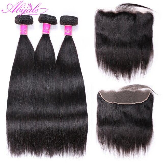 Paquetes de pelo recto Abijale con cierre Frontal paquetes de tejido de pelo brasileño paquetes de cabello humano no Remy con cierre