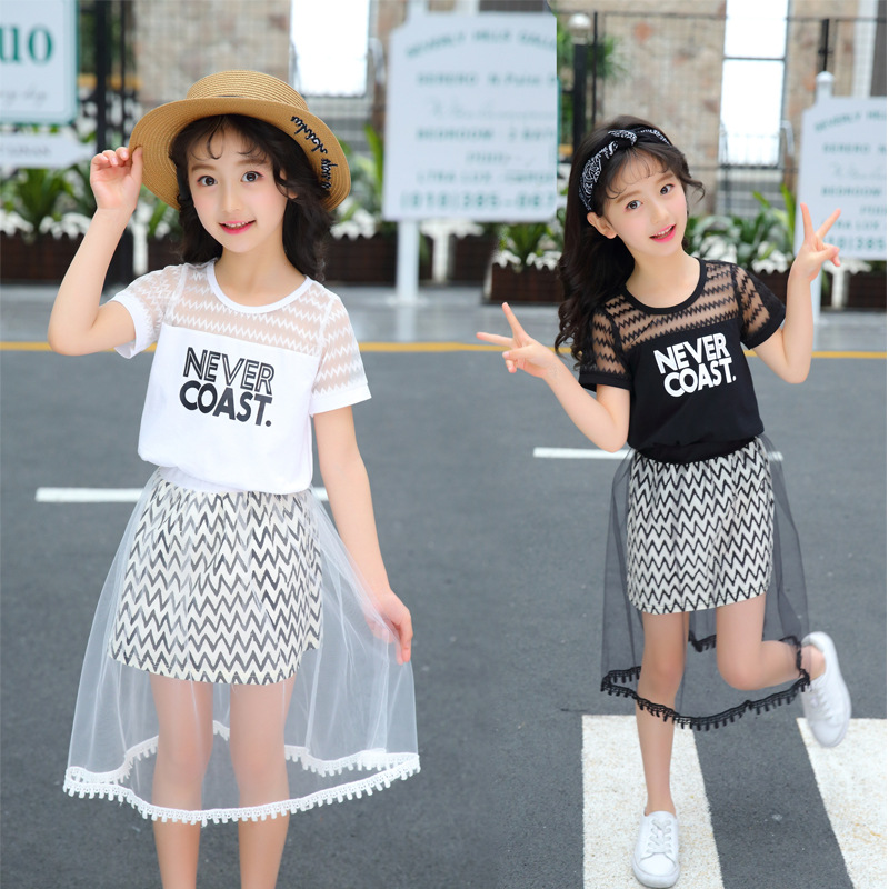 Girls Clothing Summer Girl Set Girls Dress Children's Clothing Net Veil T-Shirts Skirt Kids Suits for 3 5 6 7 8 9 10 11 13 Years цена 2017