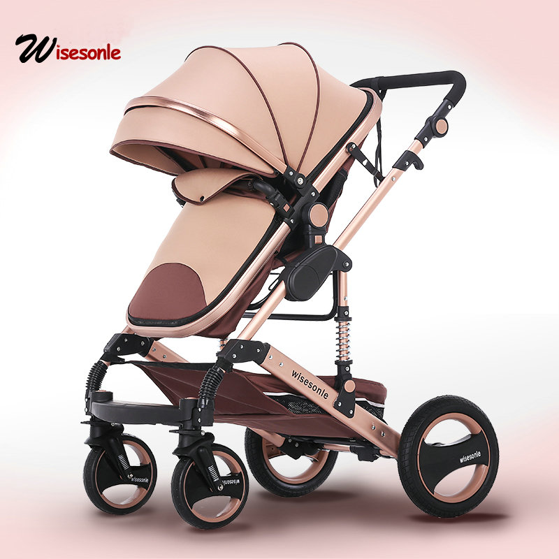 2018 new baby trolley high landscape 2 to 1 baby stroller double faced children free shipping in four seasons in Russia все цены