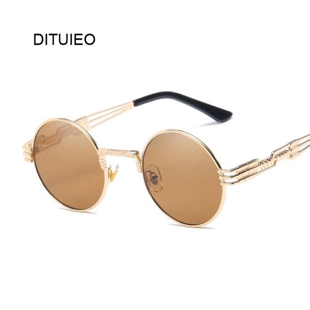 8d23b4e1094 Metal Round Steampunk Sunglasses Men Women Fashion Glasses Brand Designer  Retro Frame Vintage Sunglasses High Quality UV400