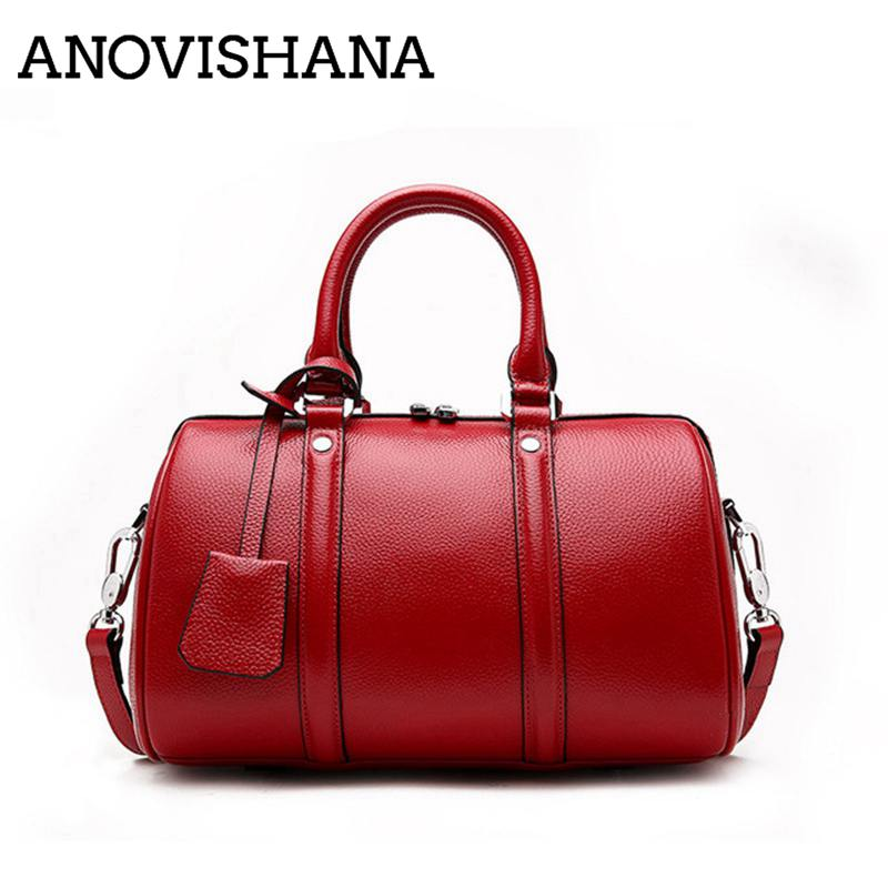 ANOVISHANA New 2019 Women cow leather Shoulder Bag boston Bags Casual Handbags small messenger bag 100% genuine leather K064ANOVISHANA New 2019 Women cow leather Shoulder Bag boston Bags Casual Handbags small messenger bag 100% genuine leather K064