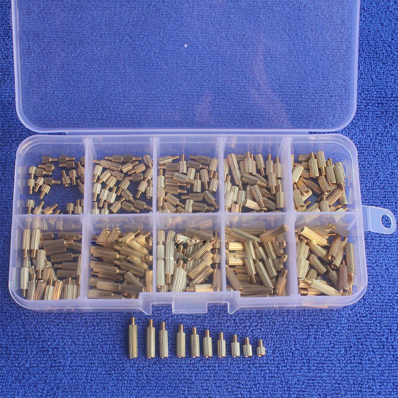 300pcs/set M2 Hex Nut Spacing Screw Brass Threaded Male Female Long Screw Bolt Brass Motherboard Standoff Spacer Assortment Set 300pcs set m3bh1 m3 4 12mm male female brass hex column standoff support spacer pillar screw nut assortment for pcb board