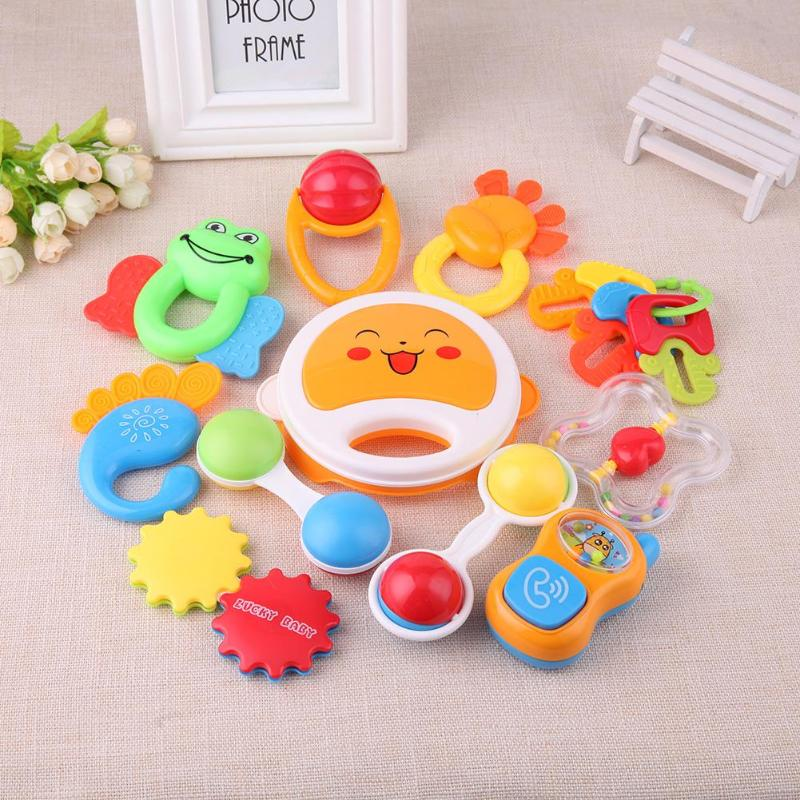 0-12M Cute Baby Early Educational Hand Rattle Music Sound Appease Toys Intelligence Grasping Gums Hand Bell juguetes bebe