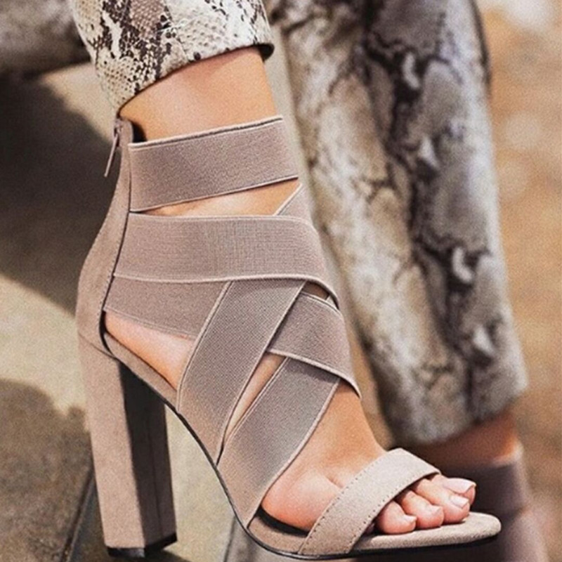 2019 New Style Fashion Ladies Summer Sexy High Heel Party Shoes Ladies Open Toe Thick With Women's High Heels Sandal A035
