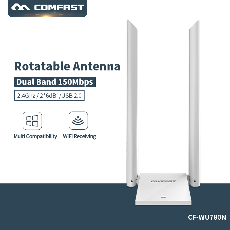 Long rang 150Mbps 2.4G USB Wifi Adapter Through Wall Wireless Network Card High Gain Dual Rotateble antenna For Window MAC Linux