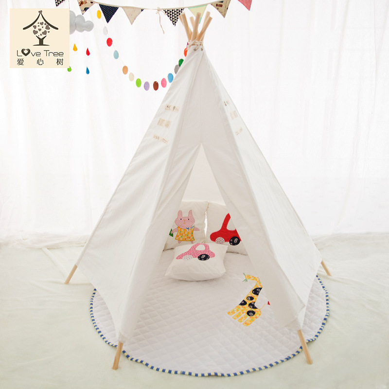 high quality 100% cotton child teepee new kids play tenten folding tent children game house family 1 person tents foldable play tent kids children boy girl castle cubby play house bithday christmas gifts outdoor indoor tents