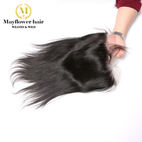 MFH Raw Indian Straight virgin hair frontal 13x4 Full lace ear to ear hand tied with baby hair Free parting Natural color