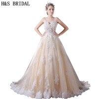 H&S BRIDAL Sweetheart Champagne Wedding Dresses Tulle Beaded Lace Wedding Gown Spaghetti Straps boho wedding dress 2019 vestido
