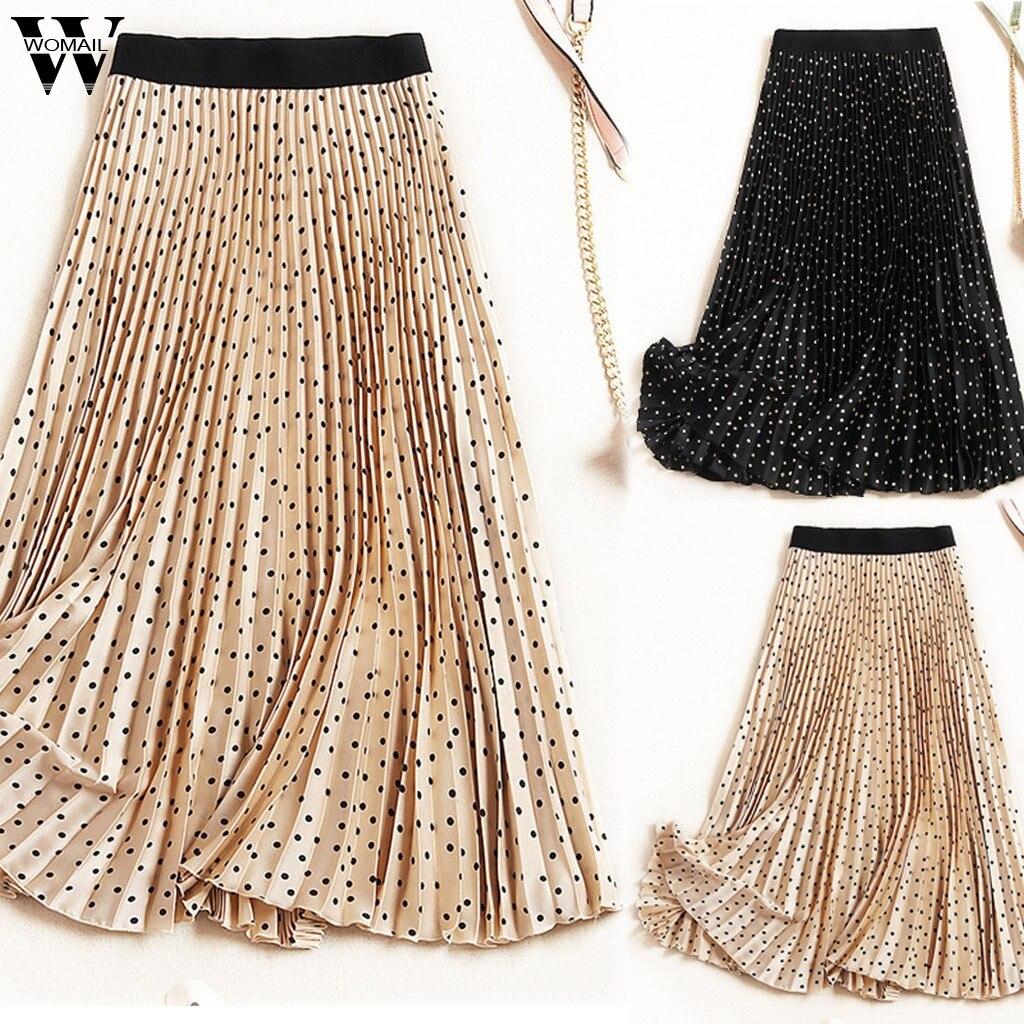 Womail Skirts Women Summer Fashion Boho Elastic Waist Pleated Skirts Vintage  Solid Kawaii  Slim Casual Long Skirt Beach J66