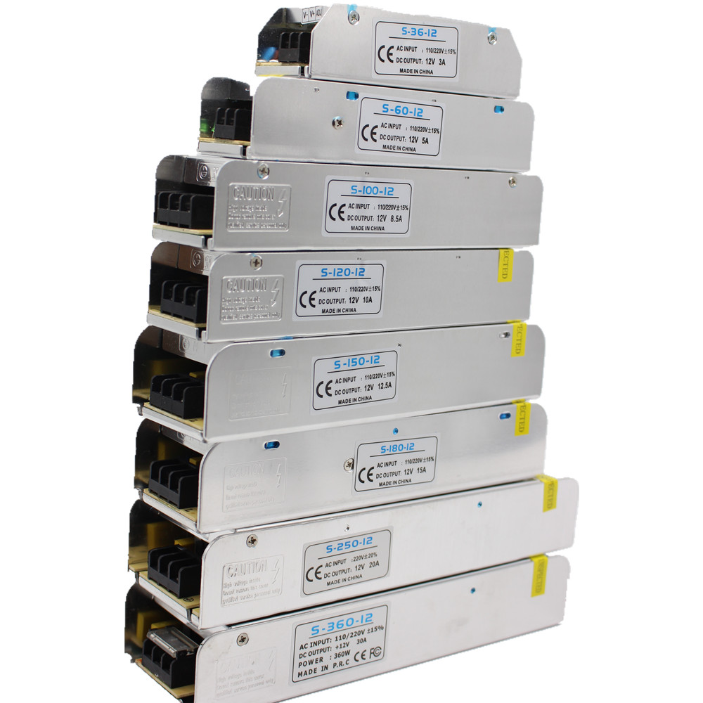 3/5/10//15/30A LED Power Supply DC12V 36W 60W 120W 150W 180W 200W 240W 360W  LED Driver Power Adapter LED Lighting Transformers3/5/10//15/30A LED Power Supply DC12V 36W 60W 120W 150W 180W 200W 240W 360W  LED Driver Power Adapter LED Lighting Transformers