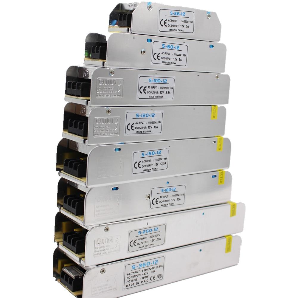 3/5/10//15/30A LED Power Supply DC12V 36W 60W 120W 150W 180W 200W 240W 360W LED Driver Power Adapter LED Lighting Transformers