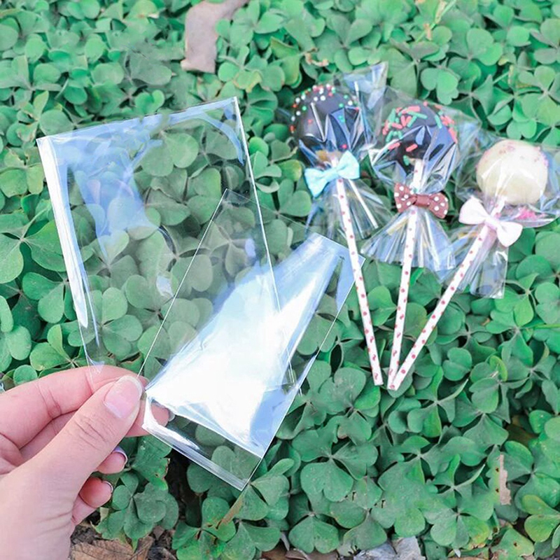 100 Pcs Transparent Candy Bags Flat Open 5 Sizes Plastic Birthday Cookie Lollipop Gift Packaging Bags baby shower girl boy(China)