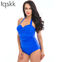 Tqskk 2016 New Floral One Piece Swimsuit Dress Big Women Slimming Swimwear Bathing Suit Dress Push