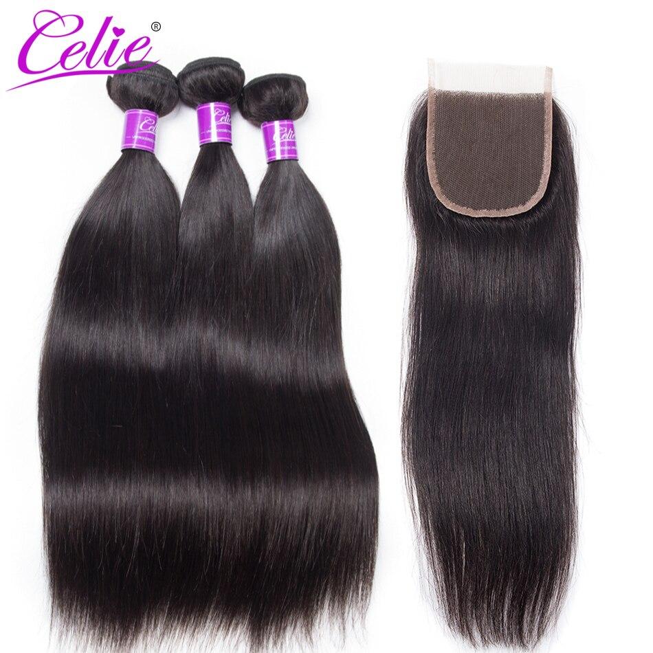 HTB1r41KinvI8KJjSspjq6AgjXXaW Celie Hair Brazilian Hair Weave Bundles With Closure Straight Hair Bundles With Closure Remy Human Hair Bundles With Closure
