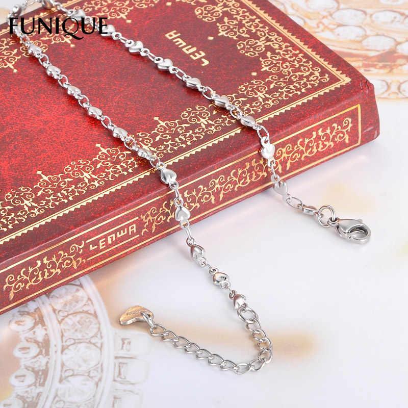 FUNIQUE נשים נירוסטה שרשרת צמידי Anklets כסף טון לב עגול גבירותיי צמיד מסיבת זוג תכשיטי מתנות 24cm