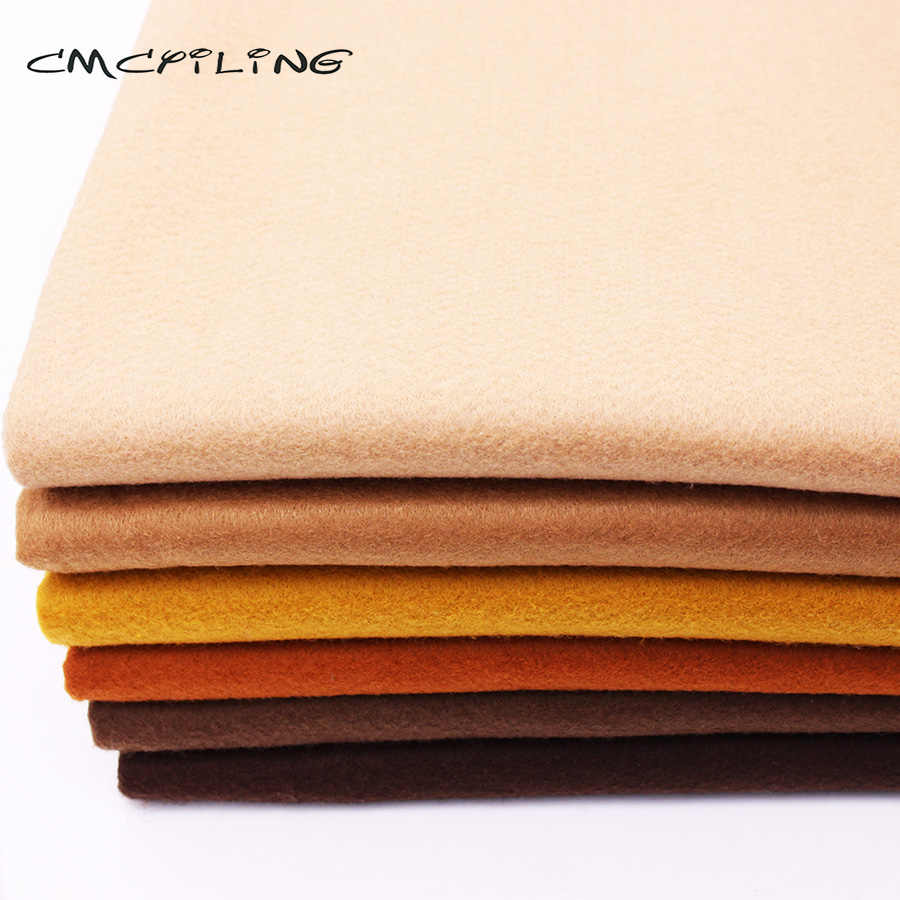 CMCYILING Brown Soft Felt Fabric For Needlework DIY Sewing Dolls Crafts 1.2 MM Thickness Polyester Cloth 45*110CM