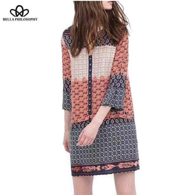 2016 лето винтаж этническая оптовая заклепки расположены v шеи пейсли цветочные смеси печати женщины причинно платье