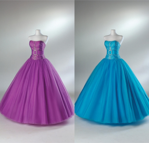 2015 New Arrival Strapless Beaded Belt Taffeta and Tulle Debut Ball Gown Quinceanera Dress Vestidos De Fiesta-in Quinceanera Dresses from Weddings & ...