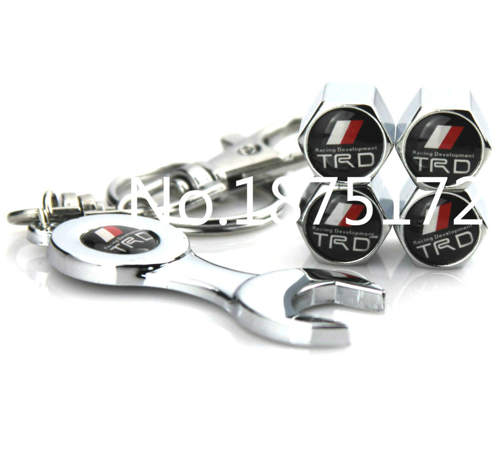Free shipping hot sale trd car wheel tire valve caps with mini wrench keychain for