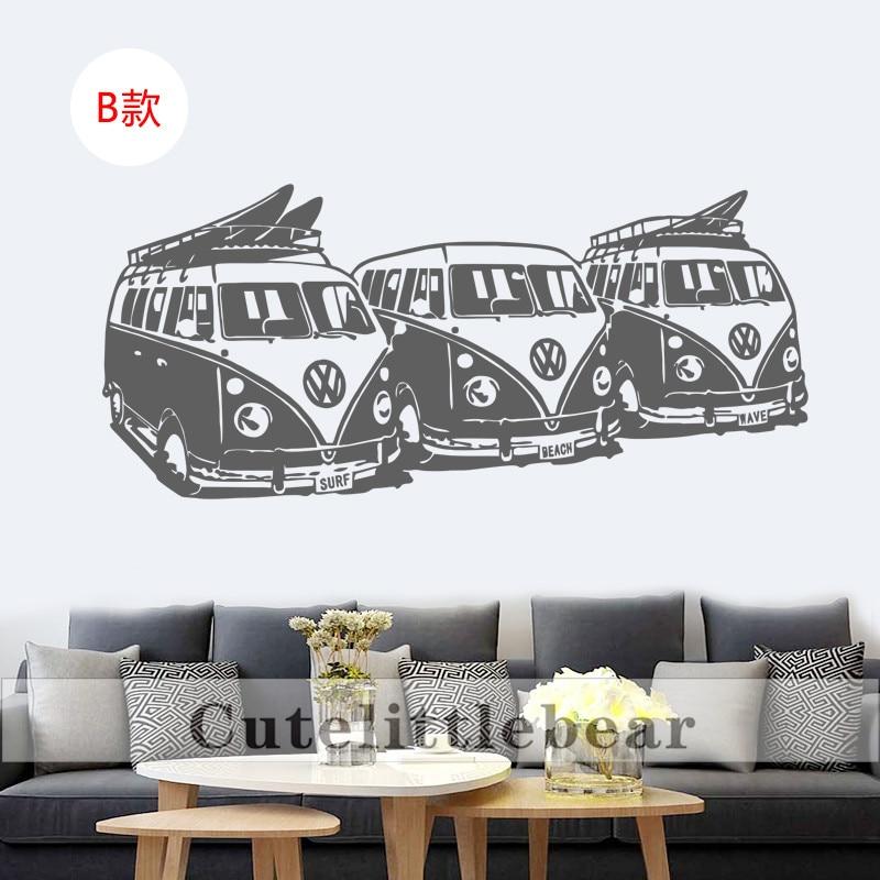 Art Design Wall Sticker 3 Volkswagen Surf Vans Home Decor DIY Car ...