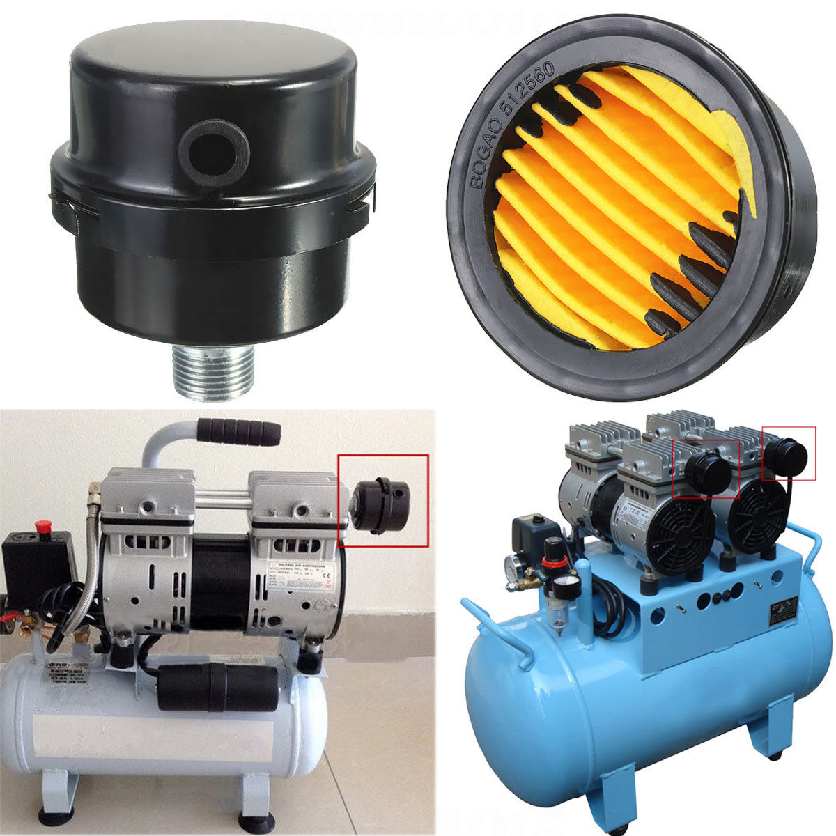 1pc Black Metal Air Intake Filter Silencer 3/8BSP 16mm Thread Durable Oil Free Air Compressor Inlet Filter Muffler Mayitr air compressor o ring 1 2pt thread oil level sight glass