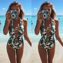One-Piece Print Green Leaves Swimsuit 2017 New Women Deep V neck Swimsuit Beachwear Swimwear push up monokini bikini Bathing