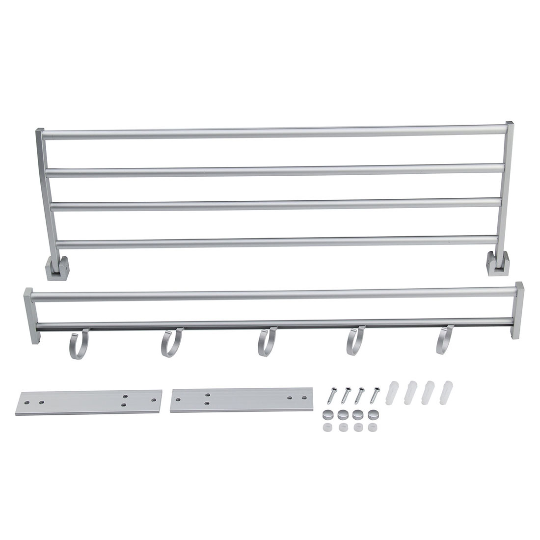 Large Double Shelf Wall Mounted Bar Bathroom Towel Rail Storage Holder Rack Hook Towel Rack To Store Towels Washcloths Shampoo foldable portable mini hair blow dryer 850w traveller hair dryer compact blower power adapter converter voltage transformer